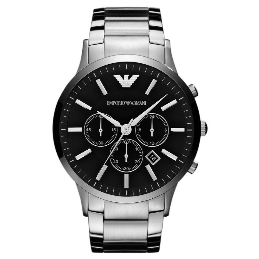 Emporio Armani Men's Watch AR2460 has silver stainless steel links with a black dial and silver hands. Stylish and in fashion for any man.
