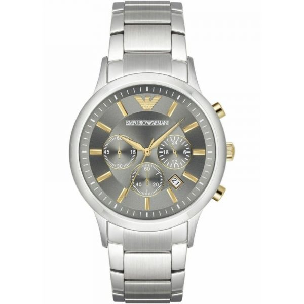 ThisEmporio Armani Men's Watch AR11047 has silver stainless steel links black dial and gold hands. Stylish and in fashion for any man.