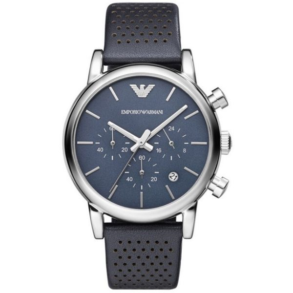 Emporio Armani Men's Watch AR1736 has a real leather blue strap with blue dial and silver hands. Stylish and in fashion for any man.