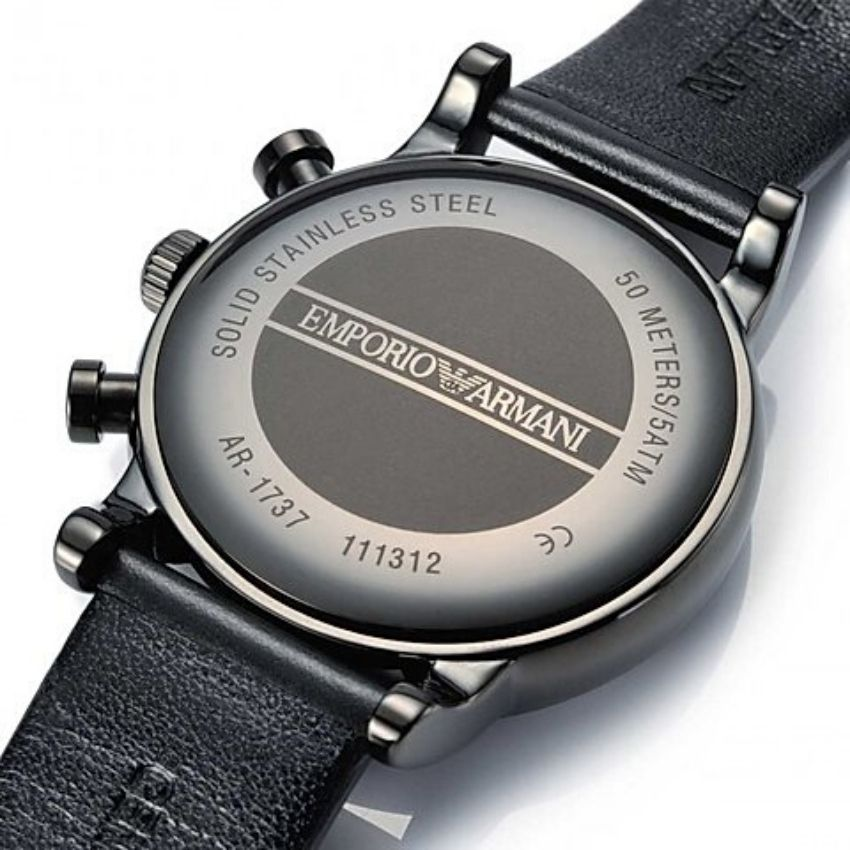 This Emporio Armani Men's Watch AR1737 has a black leather strap with black dial and grey hands. Stylish and in fashion for any man.