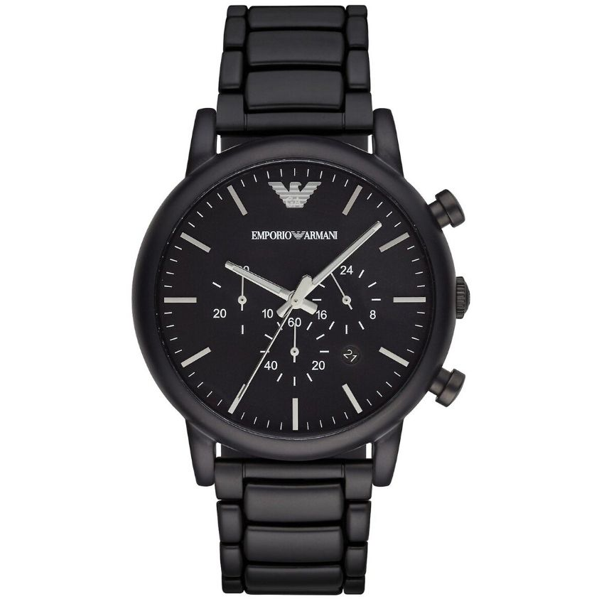 Emporio Armani Men's Watch AR1895 has a black stainless steel bracelet strap and black dial with silver hands. Stylish and in fashion.