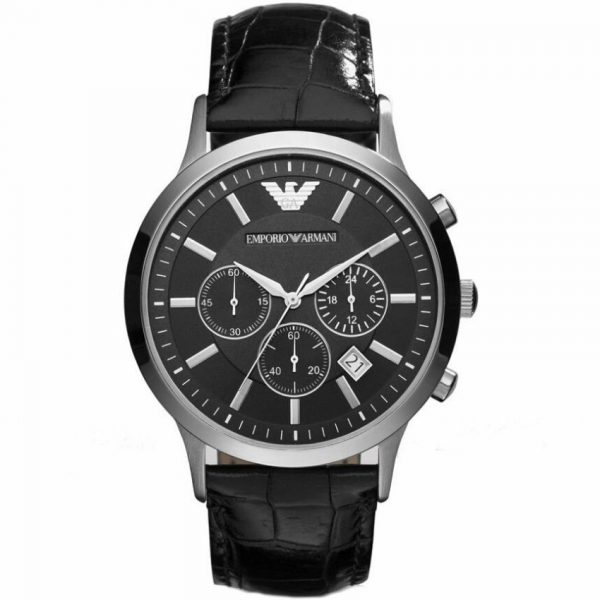 Emporio Armani Men's Watch AR2447 has a real black leather strap with black dial and silver hands. Stylish and in fashion for any man.