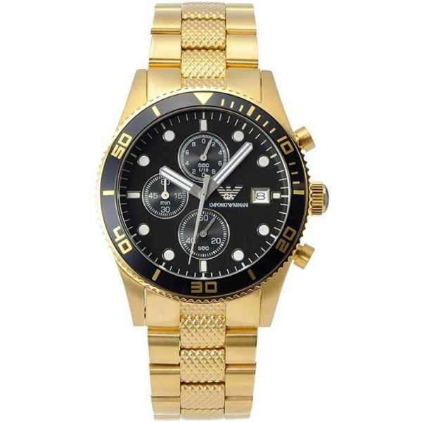 This Emporio Armani Men's Watch AR5857 has gold links with a gold stainless steel bracelet strap and a black dial with silver hands. Stylish and in fashion for any man that wants this watch to add to their collection.
