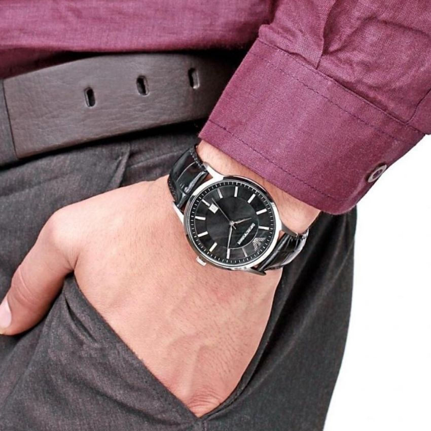 This Emporio Armani Men's Watch AR2411 has black leather straps, black dial and silver hands. Stylish and in fashion for any man.