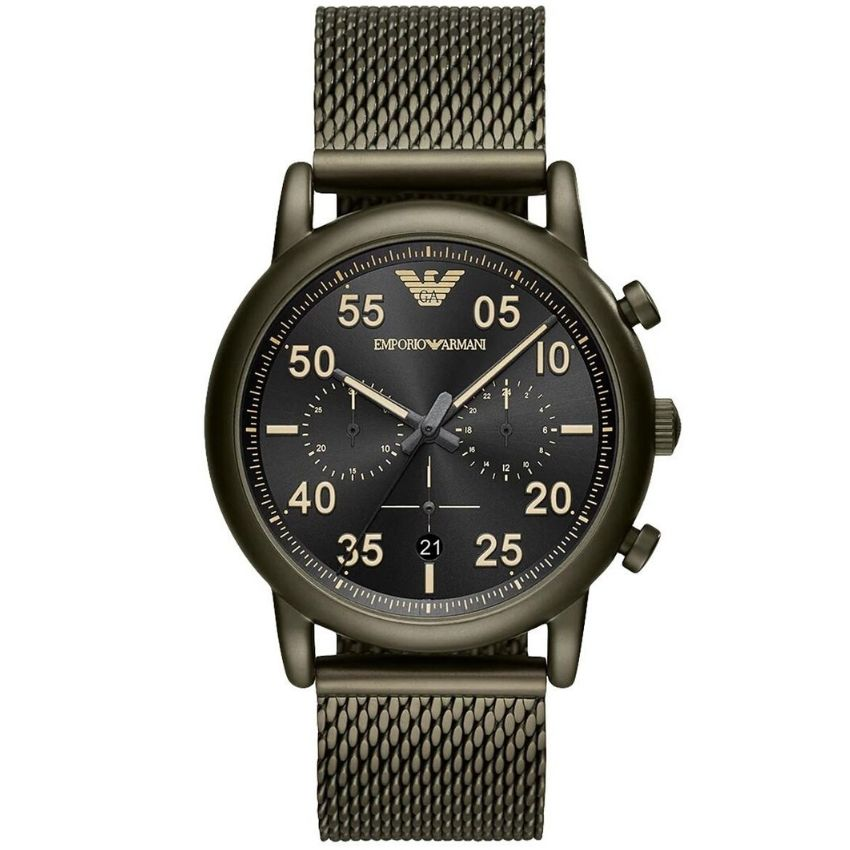 ThisEmporio Armani Men's Watch AR11115 has a green stainless steel bracelet strap and black dial with green hands. Stylish for any man.
