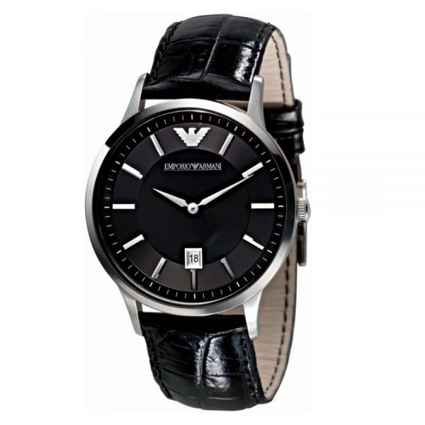 ThisEmporio Armani Men's Watch AR2411 has black leather straps, black dial and silver hands. Stylish and in fashion for any man.