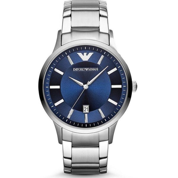 Emporio Armani Men's Watch AR2477 has a silver stainless steel bracelet strap and blue dial with silver hands. Stylish and in fashion.
