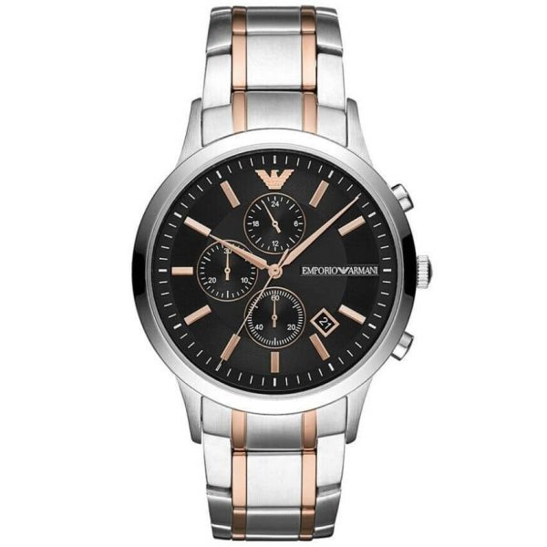 Emporio Armani Men's Watch AR11165 has silver links with rose-gold inserts black dial and rose-gold hands . Stylish and in fashion.