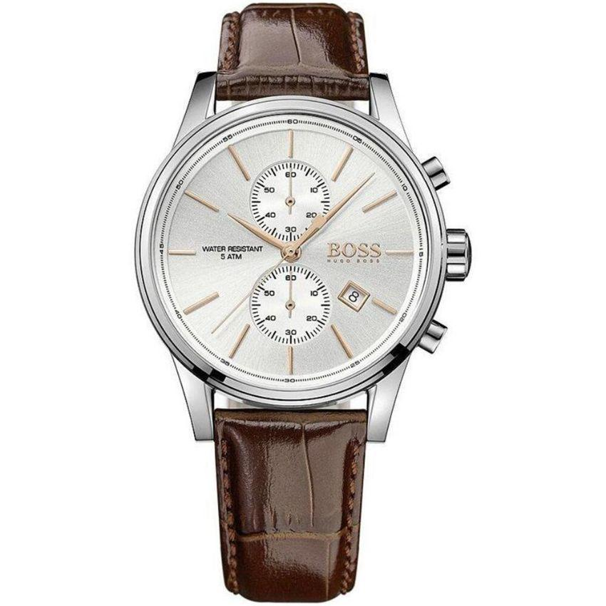 Hugo Boss Men's Watch 1513280 has a brown real leather bracelet strap and white dial with brown hands. Stylish and in fashion for any man.