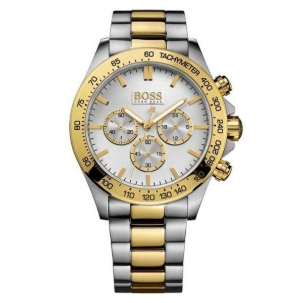 Hugo Boss Watch HB1512960 Watch has a gold and silver stainless steel bracelet strap and white dial with gold hands. Stylish and in fashion.