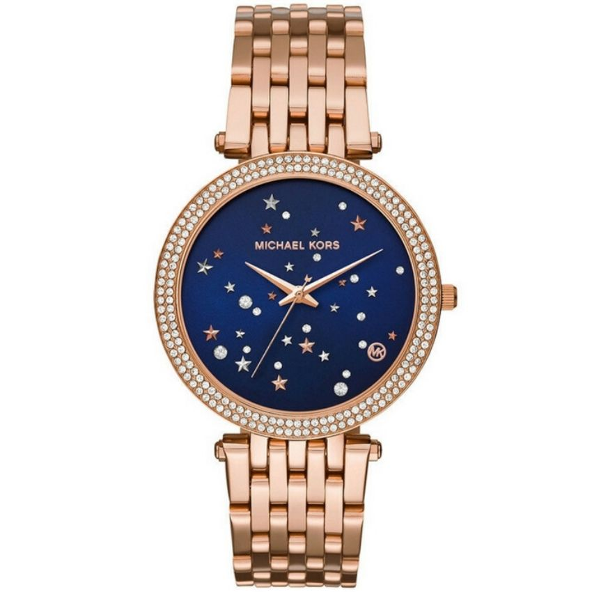 Michael Kors Women's Watch MK3728 has rose gold stainless steel bracelet strap and blue dial this watch is stylish and in fashion.