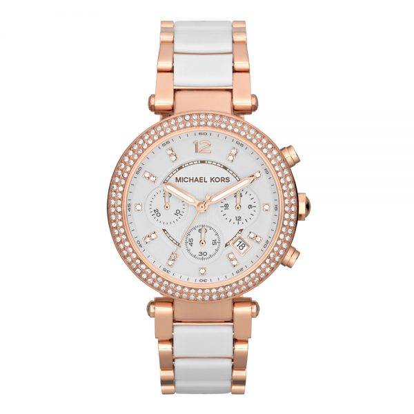 This Michael Kors Women's Watch AR1840 has rose gold links with a white inlet stainless steel bracelet strap and white dial.