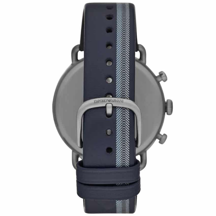 Emporio Armani Men's Watch AR11202 has a blue real leather strap with silver dial and grey hands. Stylish and in fashion for any man.