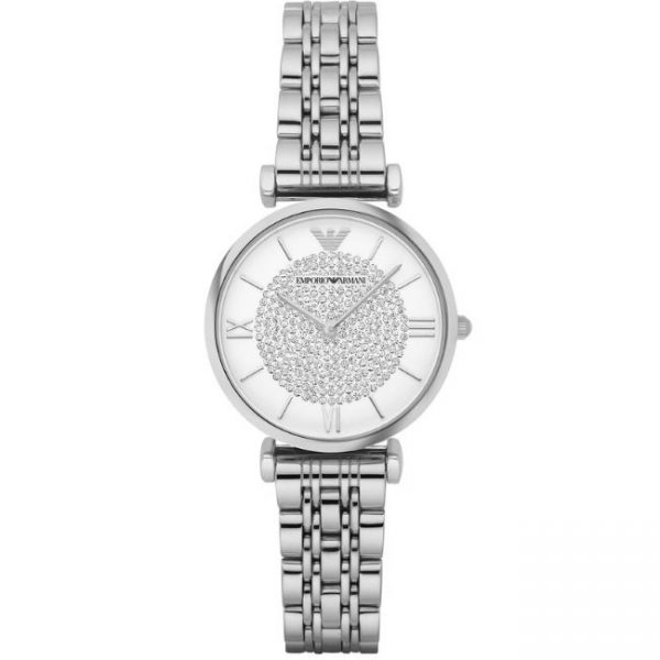 This Emporio Armani Women's Watch AR1925 has silver links with silver stainless steel bracelet strap and white dial perfect for any women.