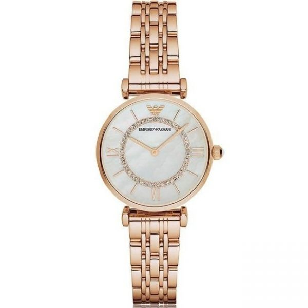 Emporio Armani Women's Watch AR1909 has Rose-Gold links, stainless steel bracelet strap and white dial. Stylish and in fashion for any woman.