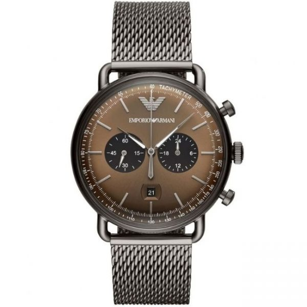 Emporio Armani Men's Watch AR11141 has metal grey links, stainless steel bracelet strap and brown dial. Stylish and in fashion for any man.