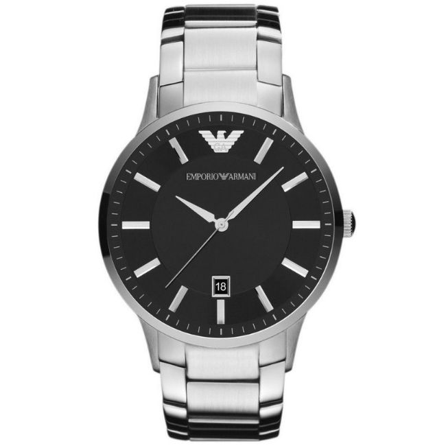 ThisEmporio Armani Men's Watch AR2457 has a silver stainless steel bracelet strap and black dial with silver hands. Stylish and in fashion.