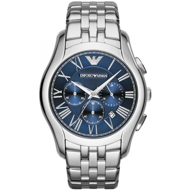 Emporio Armani Men's Watch AR1787 has a silver stainless steel bracelet strap and blue dial with silver hands. Stylish and in fashion.