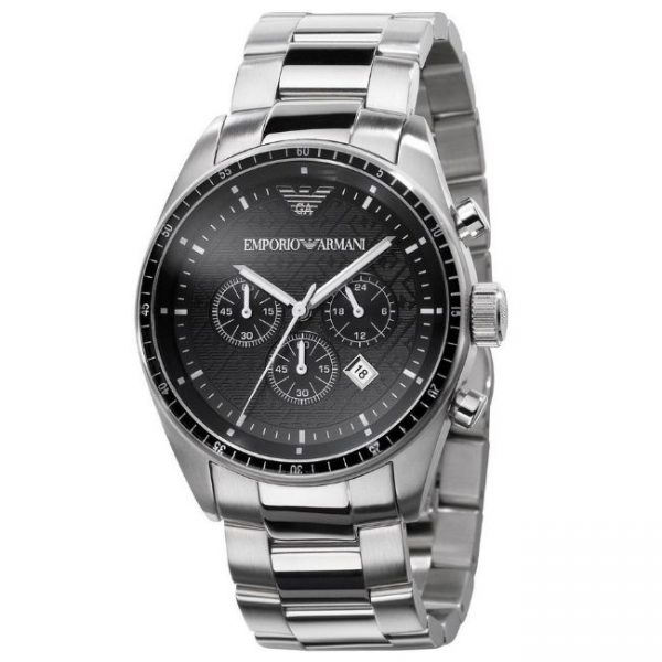Emporio Armani Men's Watch AR0585 has a silver stainless steel bracelet strap and black dial with silver hands. Stylish and in fashion.