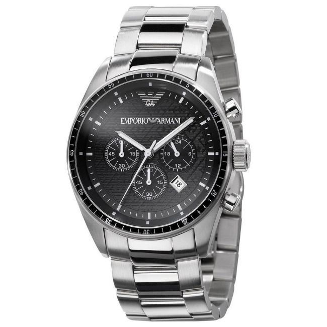 Emporio Armani Men's Watch AR0585 has a silverstainless steel bracelet strap and black dial with silver hands. Stylish and in fashion.