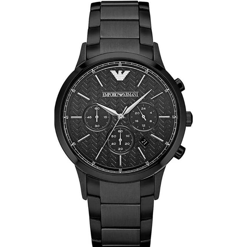 This Emporio Armani Men's Watch AR2485  has black links with a black stainless steel bracelet strap. Stylish and in fashion for any man.
