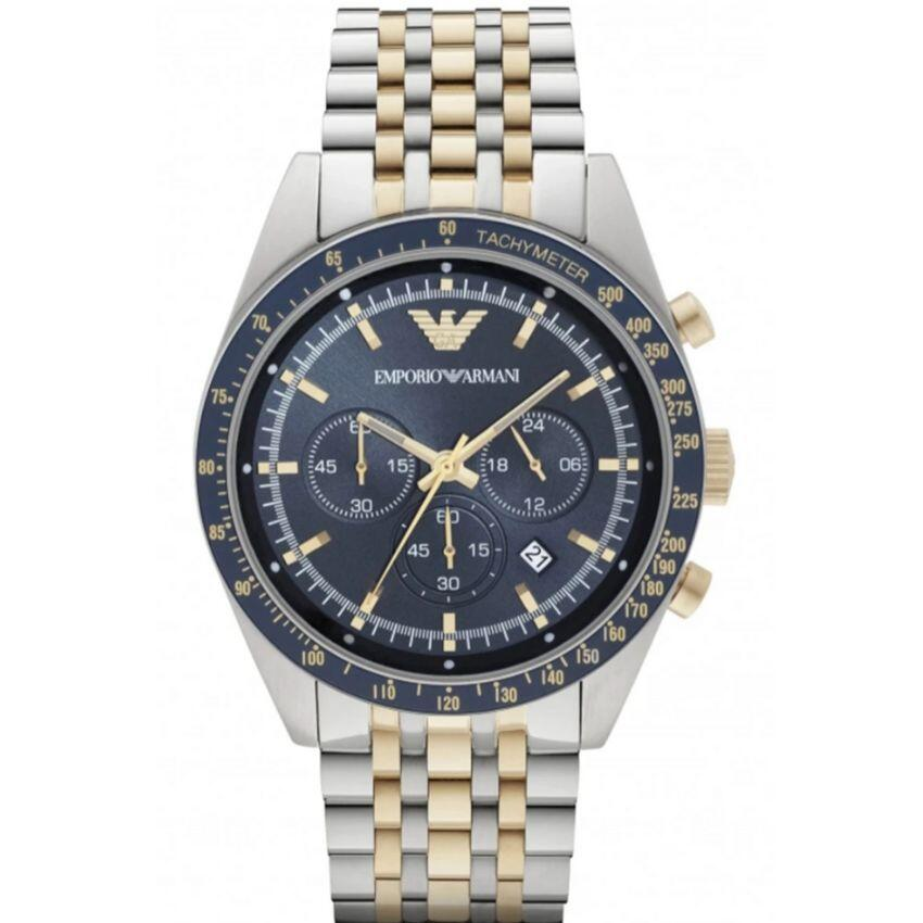 Emporio Armani Men's Watch AR6088 has a silver stainless steel bracelet strap with gold inserts and a dark blue dial with gold hands.