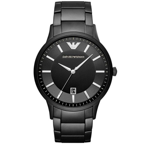 Emporio Armani Men's Watch AR11079 has a blackstainless steel bracelet strap and black dial with silver hands. Stylish and in fashion.
