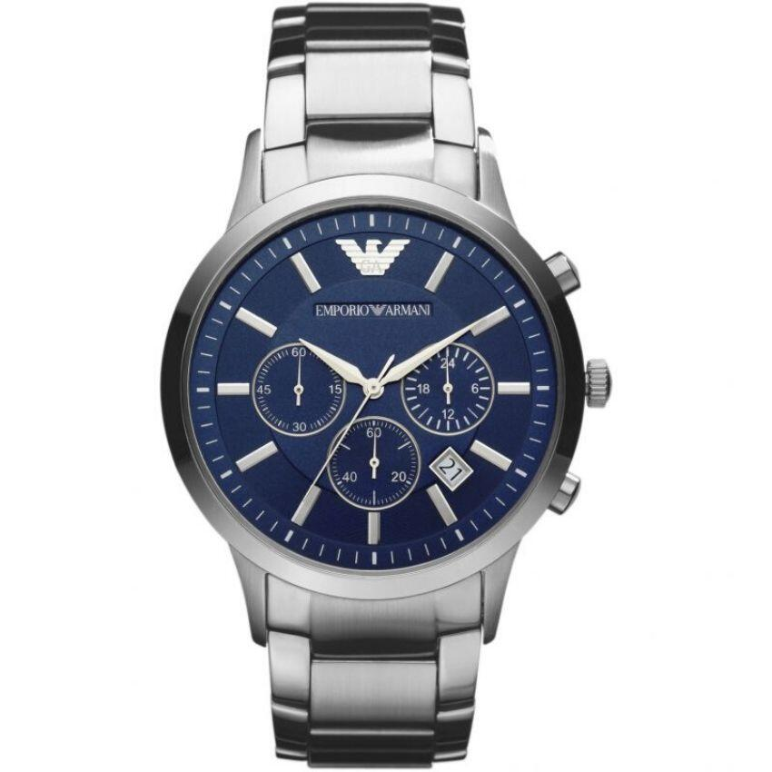 Emporio Armani Men's Watch AR2448 has silver links with silver stainless steel strap and blue dial. Stylish and in fashion for any man.
