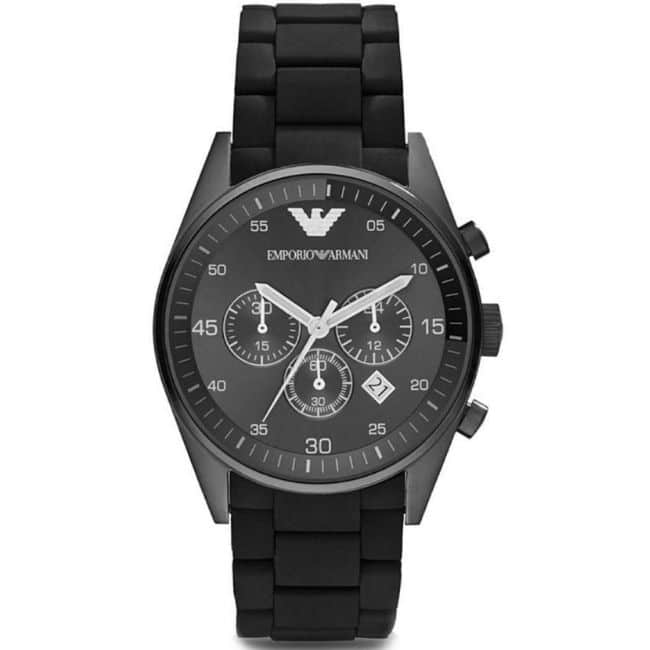 Emporio Armani Men's Watch AR5889 has black links with a black stainless steel bracelet strap and black dial. Stylish and in fashion.