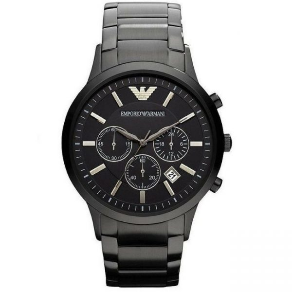 Emporio Armani Men's Watch AR2453 has a black stainless steel bracelet strap and black dial with silver hands. Stylish and in fashion.