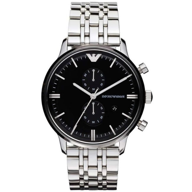 Emporio Armani Men's Watch AR0389 has a silver stainless steel bracelet strap and black dial with silver hands. Stylish and in fashion
