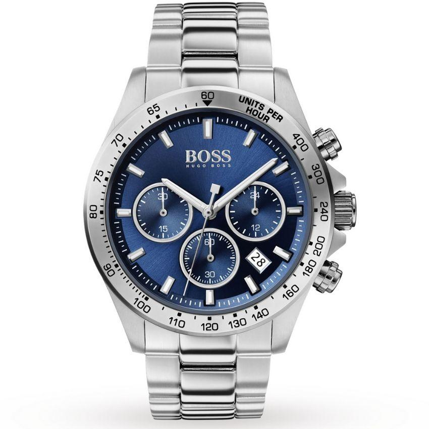 Hugo Boss Men's Watch 1513630 has a silver stainless steel bracelet strap and blue dial with silver hands. Stylish and in fashion.